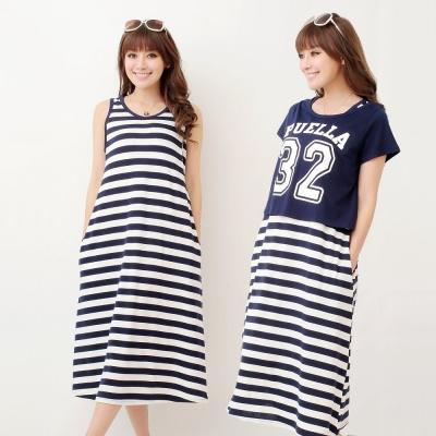 Keep-Chic孕婦裝-寬條紋運動休閒風味洋裝