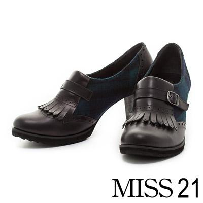 MISS-21-知性美學異材質流蘇繫帶牛皮粗跟鞋