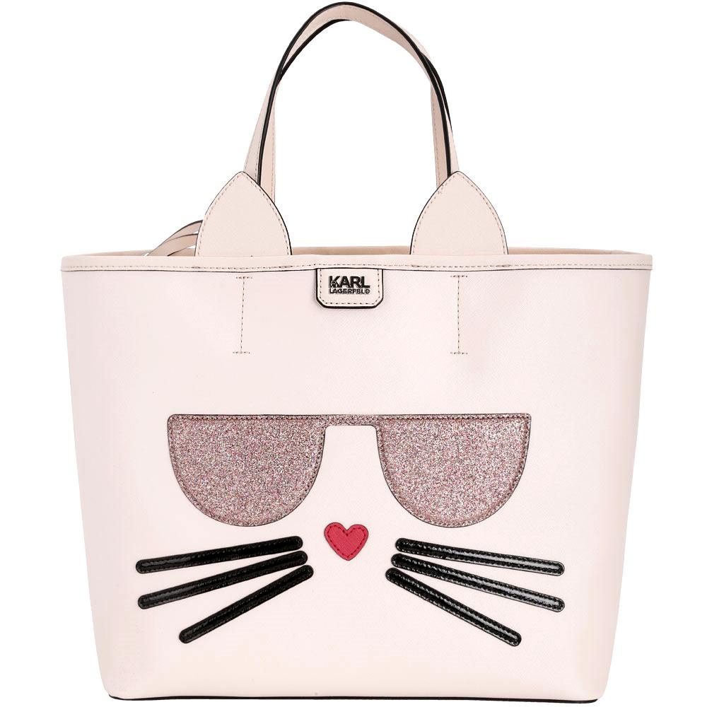 KARL LAGERFELD Choupette貓咪造型托特包附萬用包粉色