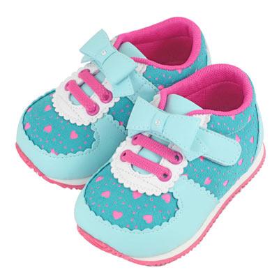 Swan天鵝童鞋-甜美小圓邊愛心布機能鞋1498-綠