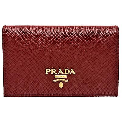 PRADA Saffiano經典金色浮雕LOGOG防刮牛皮釦式信用卡/名片夾(暗紅)