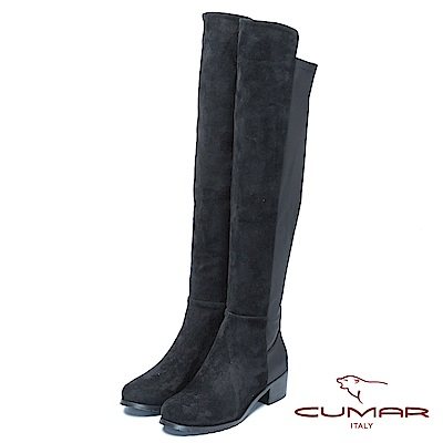 CUMAR冬季時尚混搭風格過膝長靴-黑