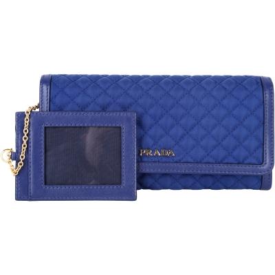 PRADA TESSUTO 菱格車縫釦式長夾(藍色/附可拆式證夾)