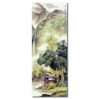 24mama掛畫 - 單聯無框圖畫藝術家飾品掛畫油畫-綠水織春圖-30x80cm
