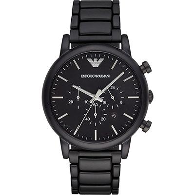 Emporio Armani Classic 紳士計時錶-黑/46mm