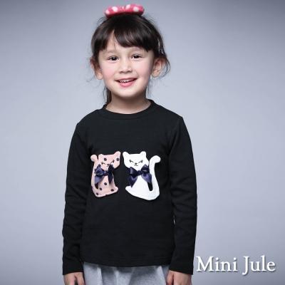 Mini Jule 童裝-上衣 兩隻貓咪長袖棉質T恤(黑)