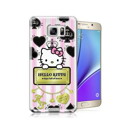 三麗鷗正版 凱蒂貓 Samsung Galaxy Note 5透明軟式保護殼(撲...