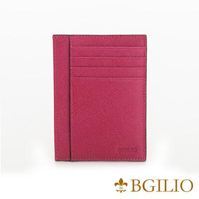 義大利BGilio-都會十字紋牛皮輕薄卡片夾-桃紅色-2299.310-14