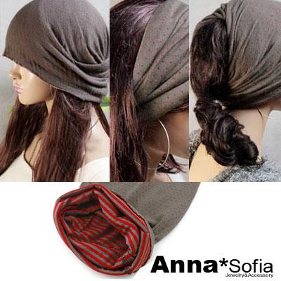 AnnaSofia-點點雙面-多ways髮帶帽-褐紅