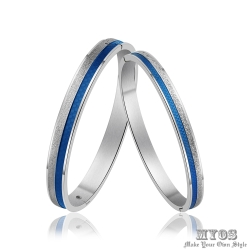 MYOS 珠寶白鋼情人手環 愛情方格(藍藍)