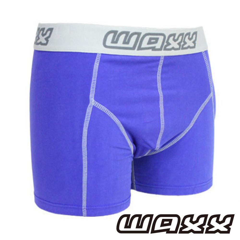 WAXX 高質感天然棉超彈男性四角內褲(藍紫色)