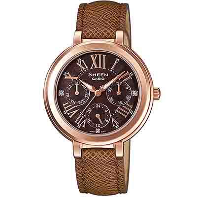 SHEEN 典雅迷人羅馬施華洛世奇少女腕錶(SHE-3034GL-5A)-咖啡棕/34mm