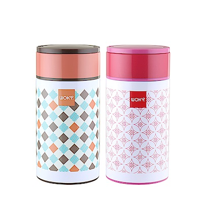 WOKY沃廚 POP ART 316不鏽鋼真空悶燒食物罐1000ML附湯匙(2色可選)
