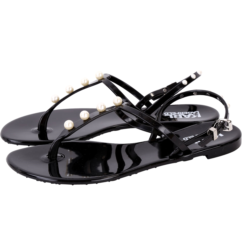 KARL LAGERFELD K/PEARL JELLY 珍珠飾T字果凍涼鞋(黑色)