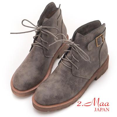 2.Maa - 簡約綁帶造型後扣飾造型短靴-灰