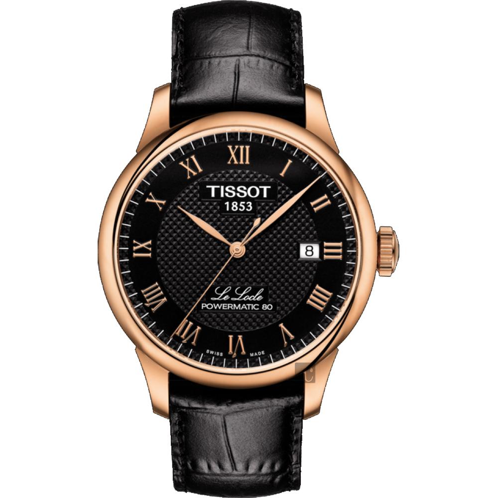 TISSOT天梭 Le Locle 80小時機械錶-黑x玫塊金框/39mm