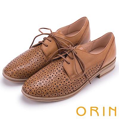 ORIN 復古潮流 簍空圖騰綁帶牛津休閒鞋-棕色