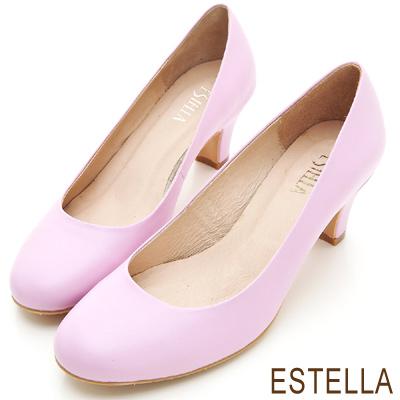 ESTELLA-MIT小牛皮純色經典低跟鞋-紫