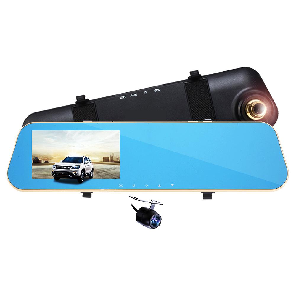 領先者 ES-12 夜視WDR 廣角170度 前後雙鏡 防眩藍光後視鏡型行車記錄器-急速配