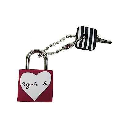 agnes b.愛心圖樣鎖頭-酒紅