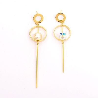 微醺禮物 正韓 鍍K金針 圓形鏤空 垂墜珍珠 方鑽 左右不同款 耳針 耳環