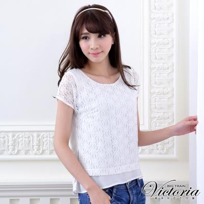 Victoria 假兩件全蕾絲雪紡短袖T-女-白