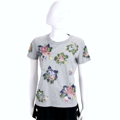 Max Mara-SPORTMAX 灰色刺繡花朵棉質短袖T恤