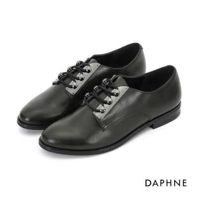 達芙妮DAPHNE 休閒鞋-光澤感英倫風繫帶牛津鞋-橄欖綠