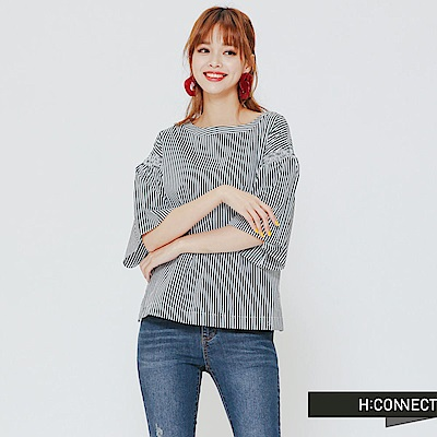 H:CONNECT 韓國品牌女裝 -知性條紋上衣-綠 - 動態show