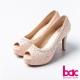 bac愛情蕾絲-鑲鑽典藏蕾絲紋魚口高跟鞋-淺