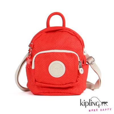 Kipling-後背包-葡萄柚橘素面