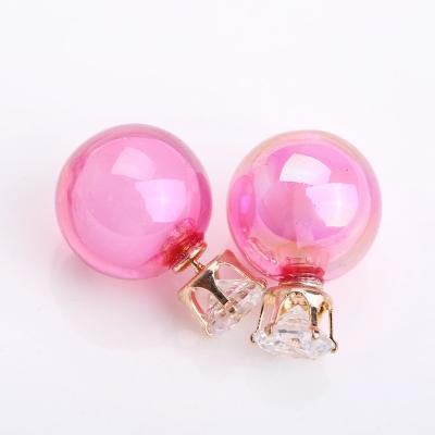 珠中珠幻彩雙面前後珍珠鑽石耳環-粉色-ZARATA