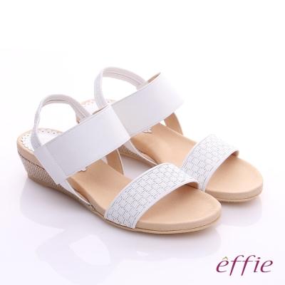 effie 個性涼夏 真皮寬版鬆緊帶小坡跟涼鞋 白色