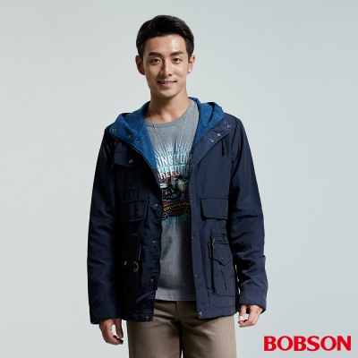 BOBSON-男款刷毛連帽外套