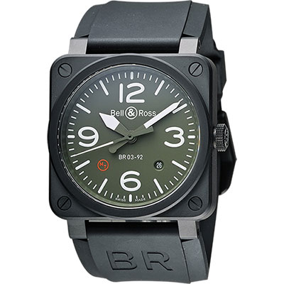 Bell & Ross Aviation 軍事飛行陶瓷機械腕錶-軍綠x黑/42mm