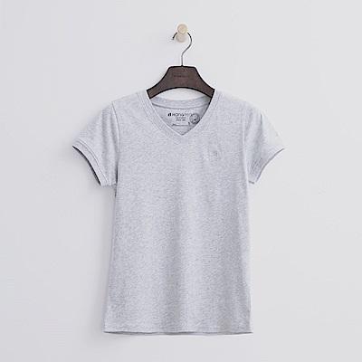 Hang Ten - 女裝 - 有機棉 V領多彩T恤-灰色