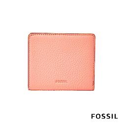 FOSSIL EMMA 真皮RFID迷你短夾-珊瑚粉