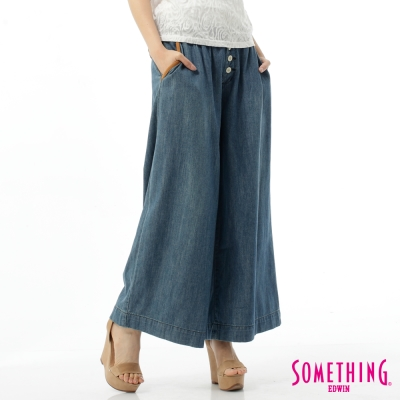 SOMETHING復古度假風寬版BAGGY牛仔褲-女款-中古藍