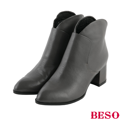 BESO優雅線條 都會簡約後拉鏈粗跟短靴~灰