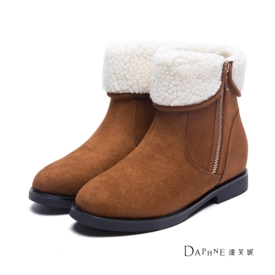 達芙妮DAPHNE-短靴-羔毛反折領絨布拉鍊踝靴-棕