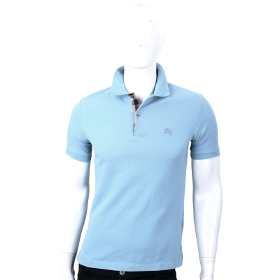 BURBERRY 格紋開襟網眼棉質POLO衫(男款/淡藍色)