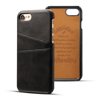 APPLE iPhone8/iPhone7 小牛紋夾層保護皮套/手機殼(黑)