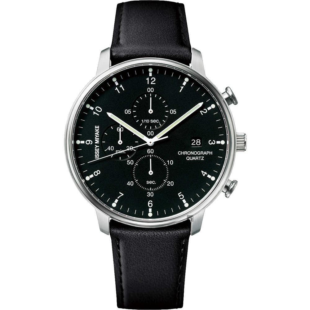 ISSEY MIYAKE 三宅一生 C 系列計時手錶(NYAD003Y)-黑皮帶/42mm