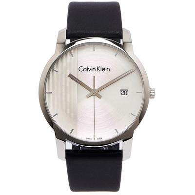 CK Calvin Klein 黑色時尚風格皮革錶帶手錶-銀面x黑色/43mm