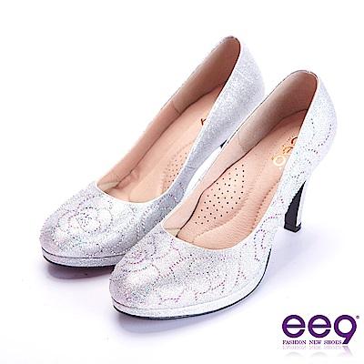 ee9 芯滿益足璀璨奢華鑲嵌亮鑽跟鞋 銀色