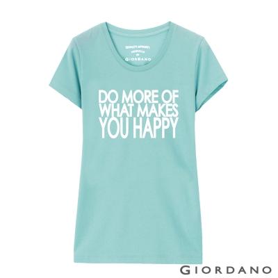 GIORDANO-女裝英文口號純棉印花TEE-08-清水藍