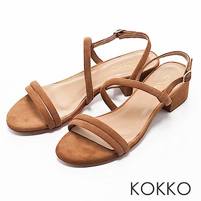 KOKKO -仲夏夜之夢曲線麂皮粗跟涼鞋-輕甜棕