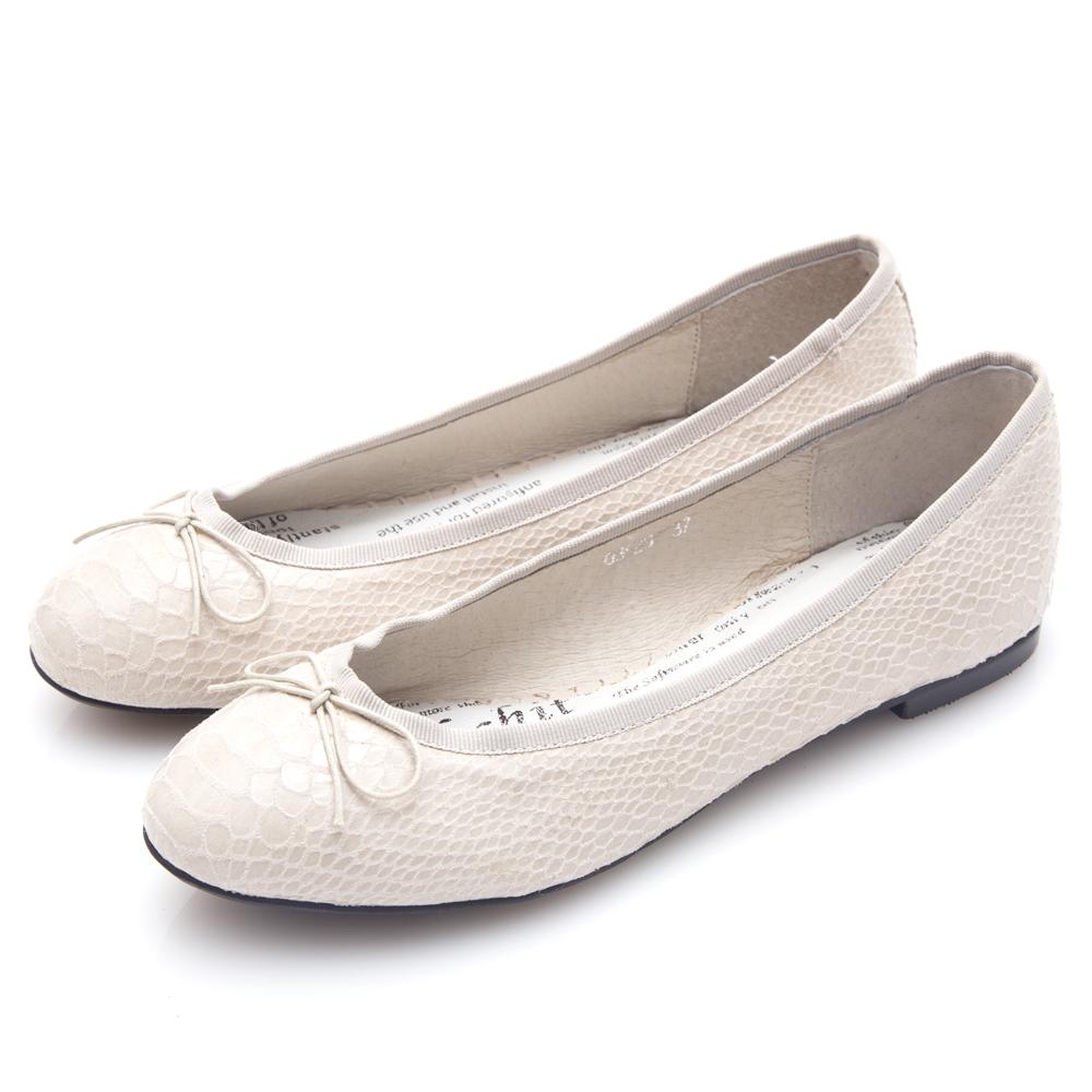 G.Ms. 蛇紋羊皮蝴蝶結芭蕾娃娃平底鞋-米白