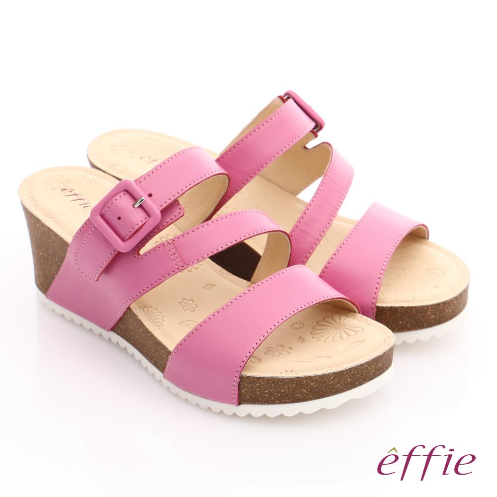 effie 嬉皮假期 真皮飾釦楔型涼拖鞋 桃粉紅色