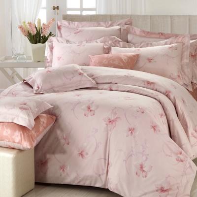 HOYACASA 花語如詩-粉 絲棉雙人四件式兩用被床包組